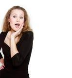 Mulher surpreendida nova sobre o branco imagem de stock royalty free