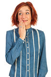 Mulher surpreendida que olha afastado Imagem de Stock Royalty Free