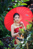 Mulher tailandesa no traje tradicional Imagem de Stock Royalty Free