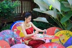 Mulher tailandesa no traje tradicional Imagem de Stock