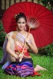 Mulher tailandesa no traje tradicional Foto de Stock Royalty Free