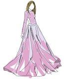 Mulher tirada no vestido cor-de-rosa Imagens de Stock Royalty Free