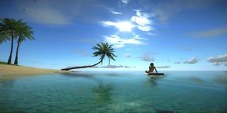 A mulher toma sol Sunny Summer Beach Relaxing Concept Perfeitamente 3D a animação de alta qualidade de um oceano tropical azul, g video estoque