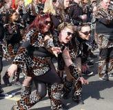 A mulher três mascarou no leopardo que levanta e que tem o divertimento no carnaval imagens de stock royalty free