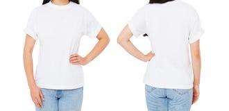 Mulher traseira dianteira das vistas na camisa de t isolada no fundo branco, trocista acima para o projeto Copie o espaço molde b foto de stock royalty free