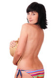 Mulher triguenha bonita em em topless Imagem de Stock