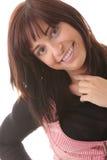Mulher triguenha bonita nova com expressão da face. imagem de stock