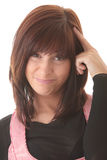 Mulher triguenha bonita nova com expressão da face. foto de stock