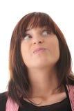 Mulher triguenha bonita nova com expressão da face. imagens de stock royalty free