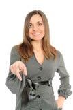 Mulher triguenha nova que aponta em você. imagens de stock royalty free