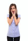 Mulher triguenha nova surpreendida Fotografia de Stock Royalty Free