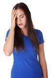 A mulher triste nova, tem o problema ou a depressão grande Fotografia de Stock