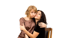 Mulher triste que está sendo consolada por um amigo Imagens de Stock