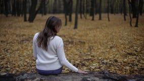 Mulher triste que senta-se no parque do outono que recorda o marido morrido, perda da amada fotografia de stock