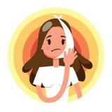 Mulher triste que sofre de uma dor de dente forte paciente ilustração royalty free