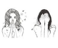 A mulher triste reza ilustração do vetor