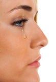 A mulher triste weeps rasgos. Medo do ícone da foto Imagem de Stock Royalty Free