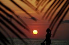 Mulher tropical das férias que anda na praia no por do sol fotografia de stock