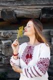 Mulher ucraniana na vila étnica foto de stock