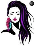 Mulher Vector o retrato da menina bonita com penas da cor Foto de Stock Royalty Free