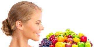 Mulher, vegetais e frutas imagens de stock royalty free