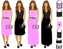 Mulher vestida acima com bolsa Imagem de Stock