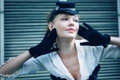 Mulher vestida acima no estilo retro Fotos de Stock Royalty Free