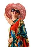 Mulher vestida exótica feliz Fotos de Stock Royalty Free