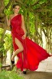 Mulher vestida vermelho Imagens de Stock