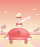 A mulher viaja no carro Ilustração do Vetor