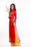 Mulher vietnamiana bonita com ao vermelho dai que guarda a flor de cerejeira imagens de stock