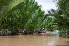 Mulher vietnamiana que enfileira um barco em Mekong River Foto de Stock Royalty Free