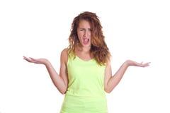 Mulher virada que grita com mãos acima Foto de Stock