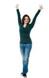 Mulher vitorioso entusiasmado que expressa o sucesso foto de stock royalty free