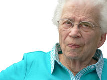 Mulher White-haired no fundo branco Fotos de Stock
