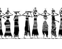 Mulheres étnicas com jarros, fundo sem emenda para Imagens de Stock