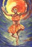Mulheres africanas de dança ilustração do vetor