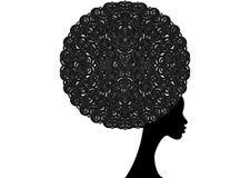 Mulheres africanas do retrato, cara fêmea da pele escura com o encaracolado tradicional afro e étnico do cabelo, isolado, conceit ilustração royalty free