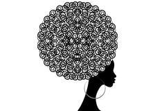 Mulheres africanas do retrato, cara fêmea da pele escura com os brincos tradicionais afro e étnicos do cabelo no isolado, pentead ilustração royalty free