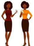 Mulheres afro-americanos na roupa ocasional esperta ilustração royalty free