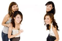 Mulheres asiáticas e espaço em branco fotos de stock royalty free