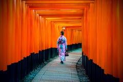 Mulheres asiáticas em quimonos japoneses tradicionais no santuário de Fushimi Inari em Kyoto, Japão fotos de stock royalty free