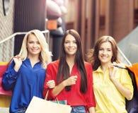 Mulheres bonitas com os sacos de compras que levantam junto Foto de Stock
