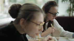 Mulheres bonitas do almoço de negócio dois no escritório Um petisco pequeno durante um projeto importante do negócio vídeos de arquivo