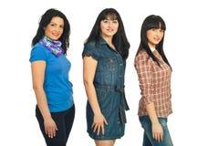 Mulheres bonitas dos modelos em uma fileira Imagem de Stock Royalty Free