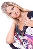 Mulheres bonitas em um vestido colorido Fotografia de Stock