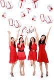 Mulheres bonitas engraçadas felizes com caixas. Natal. Partido. Fotos de Stock Royalty Free