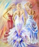 Mulheres bonitas na bola ilustração do vetor