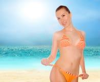 Mulheres bonitas na praia tropical ensolarada no bik fotografia de stock