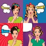 Mulheres bonitas no estilo do pop art ilustração stock